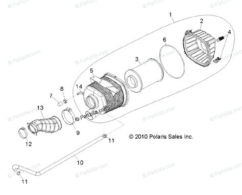 polaris side by side 2011 oem parts diagram for engine air intake system all options
