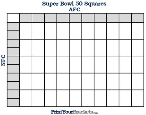free printable football squares template free printable bowl squares template sheet pdf 50 squares