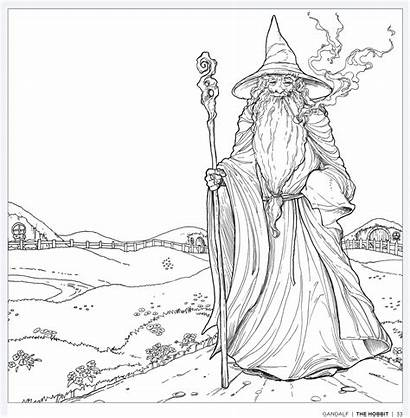Gandalf Coloring Hobbit Colouring Books Tolkien Adults