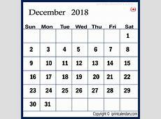 December 2018 Calendar Canada monthly printable calendar