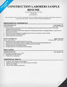 resume templates for construction work construction laborers resume sle resumecompanion resume sles across all industries