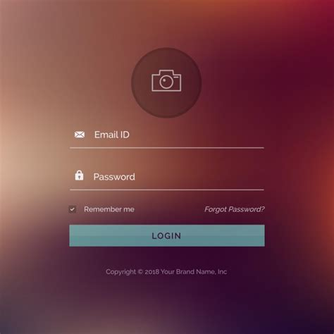 Login Template Login Template With A Blurred Background Vector Free