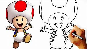 How to Draw cute Toad (Super Mario Characters) Step by ...
