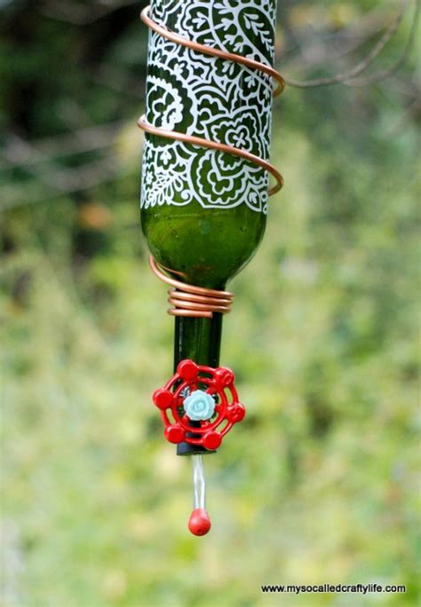 diy wine bottle hummingbird feeder shelterness