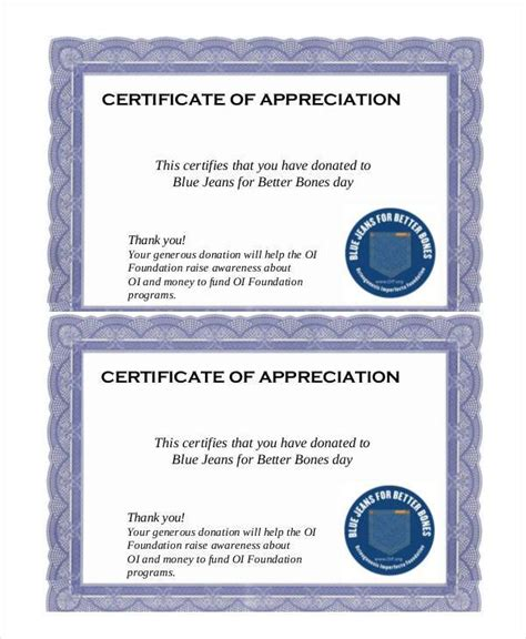 certificate  appreciation templates  docs