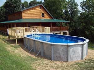 rustic house design oval above ground pool decks design
