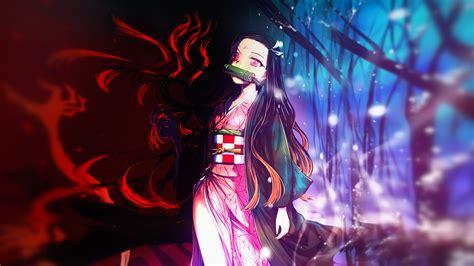 demon slayer nezuko kamado  background  red black