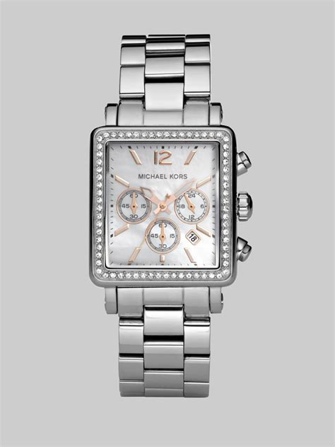michael kors crystal chronograph rectangular bracelet