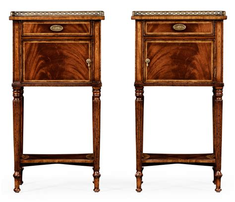 mahogany bedside cabinets pair of mahogany bedside cabinets with brass gallery 3942
