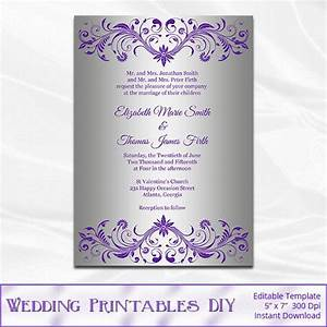silver foil wedding invitation template diy purple and With free printable wedding invitations lavender