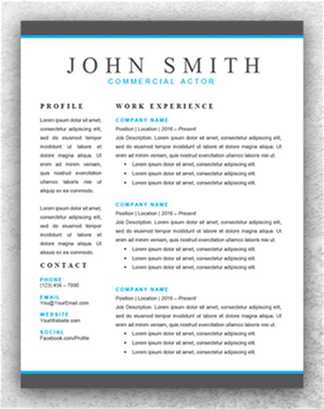 3 Column Acting Resume Template by Resume Template Start Professional Resume Templates For Word