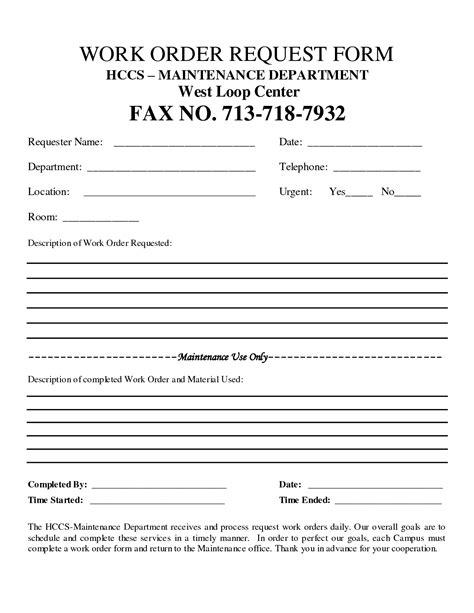 free customer work order request work order form doc forms pinterest order form