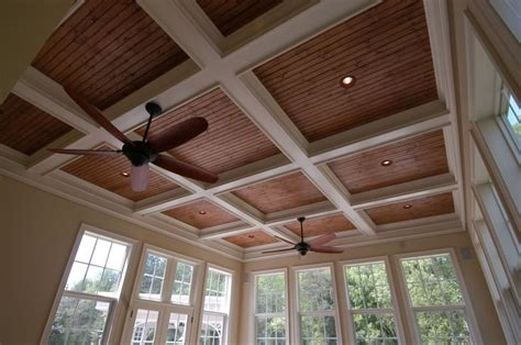 Stained Beadboard Porch Ceiling : Coffered Ceiling With Stained Bead Board And Recessed
