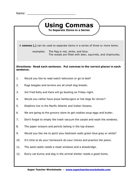 using commas worksheet for 4th grade comma in a series worksheets image commas in a series