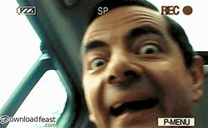 Funny Mr Bean Reaction Gif on Video Camera - Downloadfeast