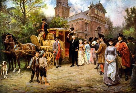 george washington arriving  christ church painting