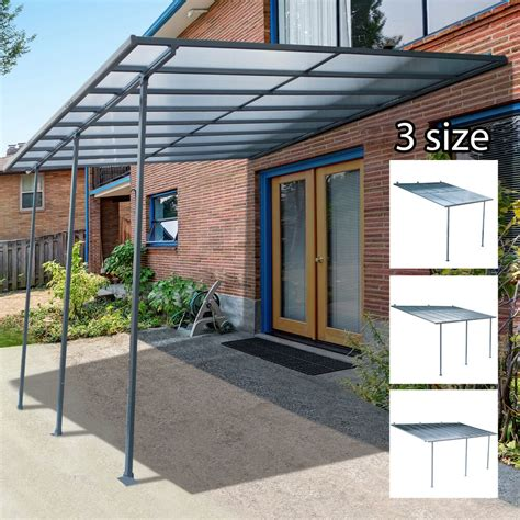 outdoor wall mounted door awning patio canopy cover sun shade polycarbonate ebay
