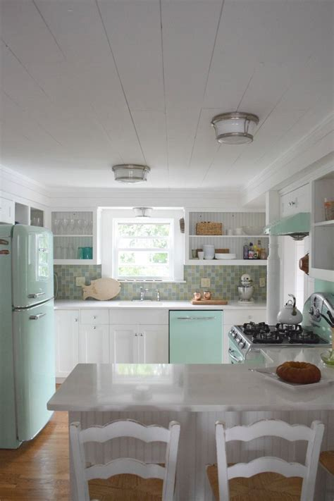 beach house   retro kitchen eclectic cottage