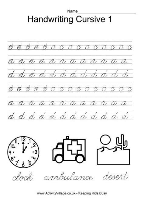 cursive penmanship worksheets