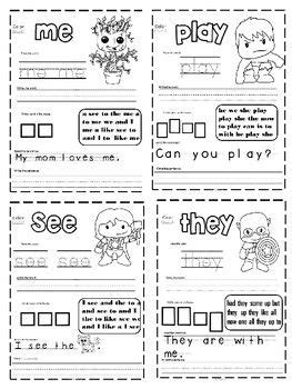 super hero sight word worksheets  images sight