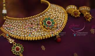 jhumka earrings gold ch2053 broad choker necklace antique ad stones grand