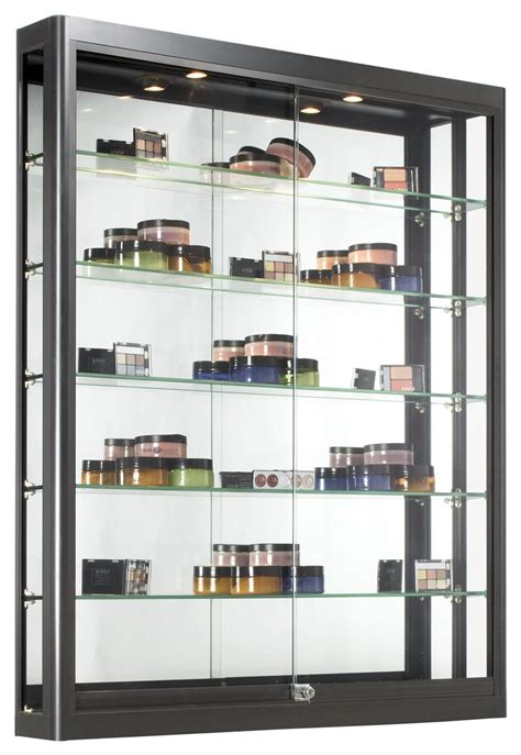 used lockable glass display cabinets black wall case glass sliding doors with 5 shelves