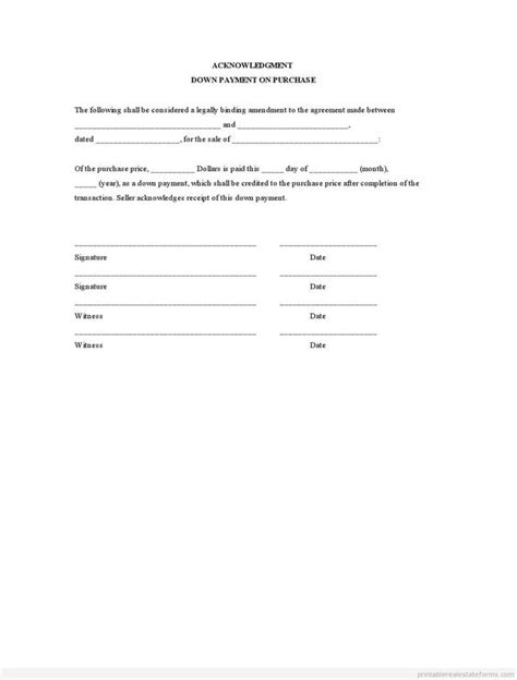 down payment receipt form sle printable acknowledgment down payment on purchase