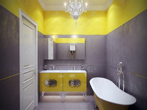 Gray And Yellow Bathroom