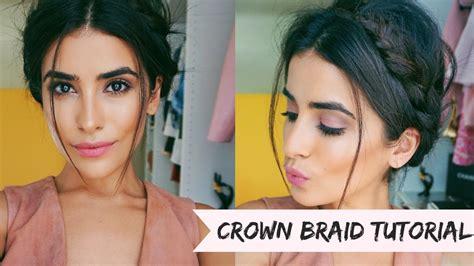 crown braid hair tutorial easy youtube