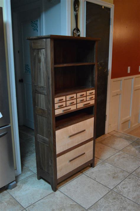 Dresser Bookcase by Made Solid Figured Walnut And Curly Maple Dresser