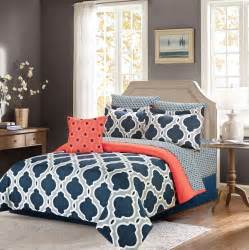 crest home ellen westbury king comforter bedding set with sheets navy blue and grey quatrefoil