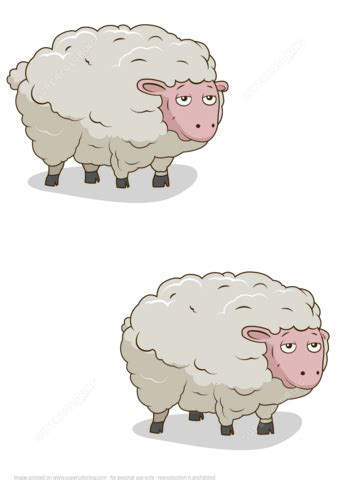 find  differences picture   sheep  printable puzzle games
