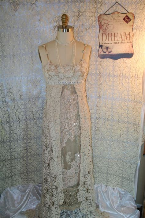Upcycled Wedding Dress Bojo Gypsy Dress Tattered Shabby