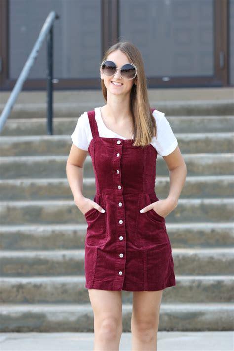 Burgundy Corduroy Overall Dress - For The Love Of Glitter