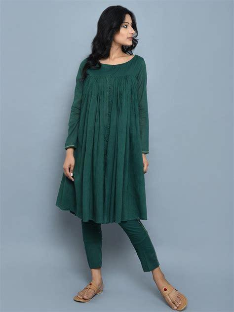 emerald green cotton kedia style kurta  pants set
