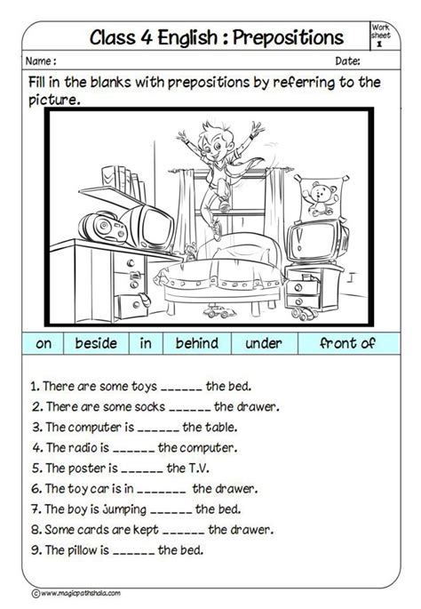 prepositions exercises for class 5