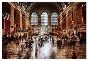 Tempered glass wall art 3d grand central station new york for Kitchen cabinets lowes with grand central station wall art