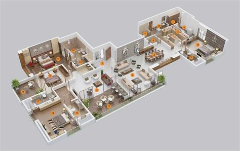3 bed bungalow floor 50 four 4 bedroom apartment house plans architecture