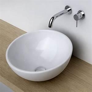 Vasque à Poser Salle De Bain : vasque poser ronde bol 42 cm c ramique pure ~ Edinachiropracticcenter.com Idées de Décoration