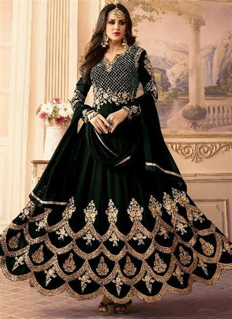 buy black embroidered abaya style anarkali suit