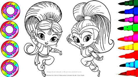 colouring drawings shimmer  shine sparkle rainbow color