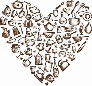 I Love Cooking  Kitchen Utensils Sketch  Heart Shape For
