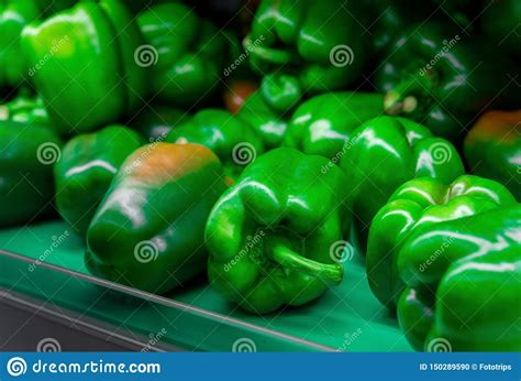 Organic Green Bell Peppers In Market Place Stock Photo ...