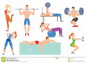 Cartoon Sport Gym People Group Exercise On Fitness Ball Stock Vector Image: 66138171
