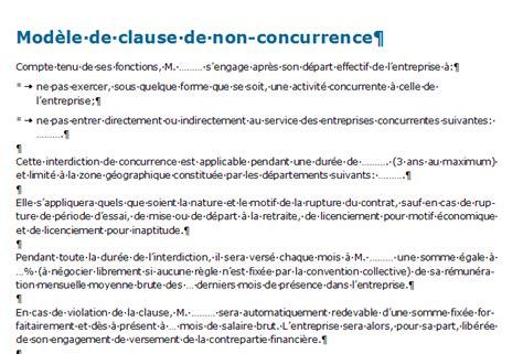 clause de non concurrence exemple clause de non concurrence mod 232 le 224 t 233 l 233 charger