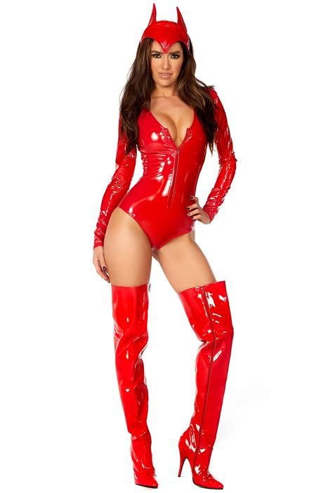 halloween sexy red devil womens bodysuit costume