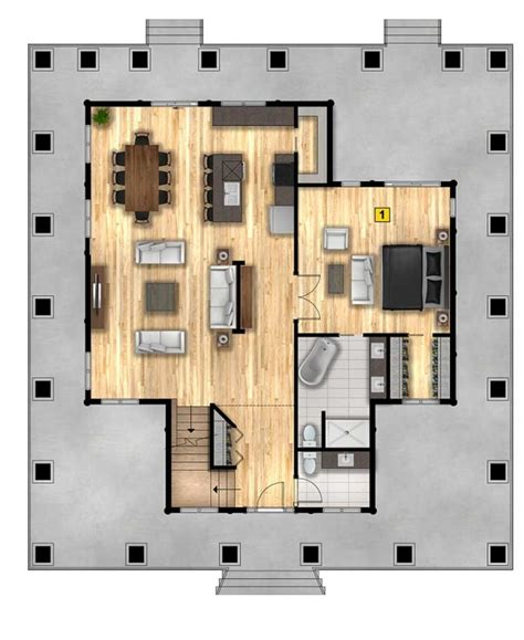 rendering floor plan  photoshop  kermaouiben