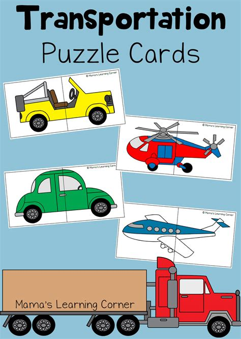 transportation puzzle cards for preschoolers mamas 153 | Transportation Puzzle Cards