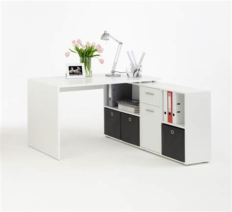 bureau de travail blanc bureau d 39 angle blanc pour aménager comme il se doit le