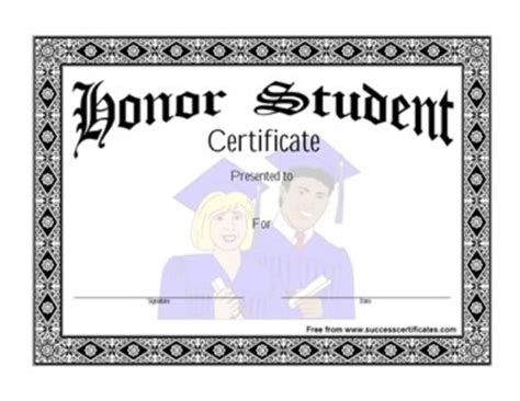 honor student certificate honor student award